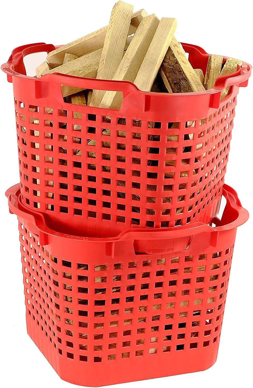 Greenlife Cesta Universal (25L, 50L) Fabricada en Alemania, Resistente, apilable, plástico Duradero (25L 1 Cesta, Rojo)