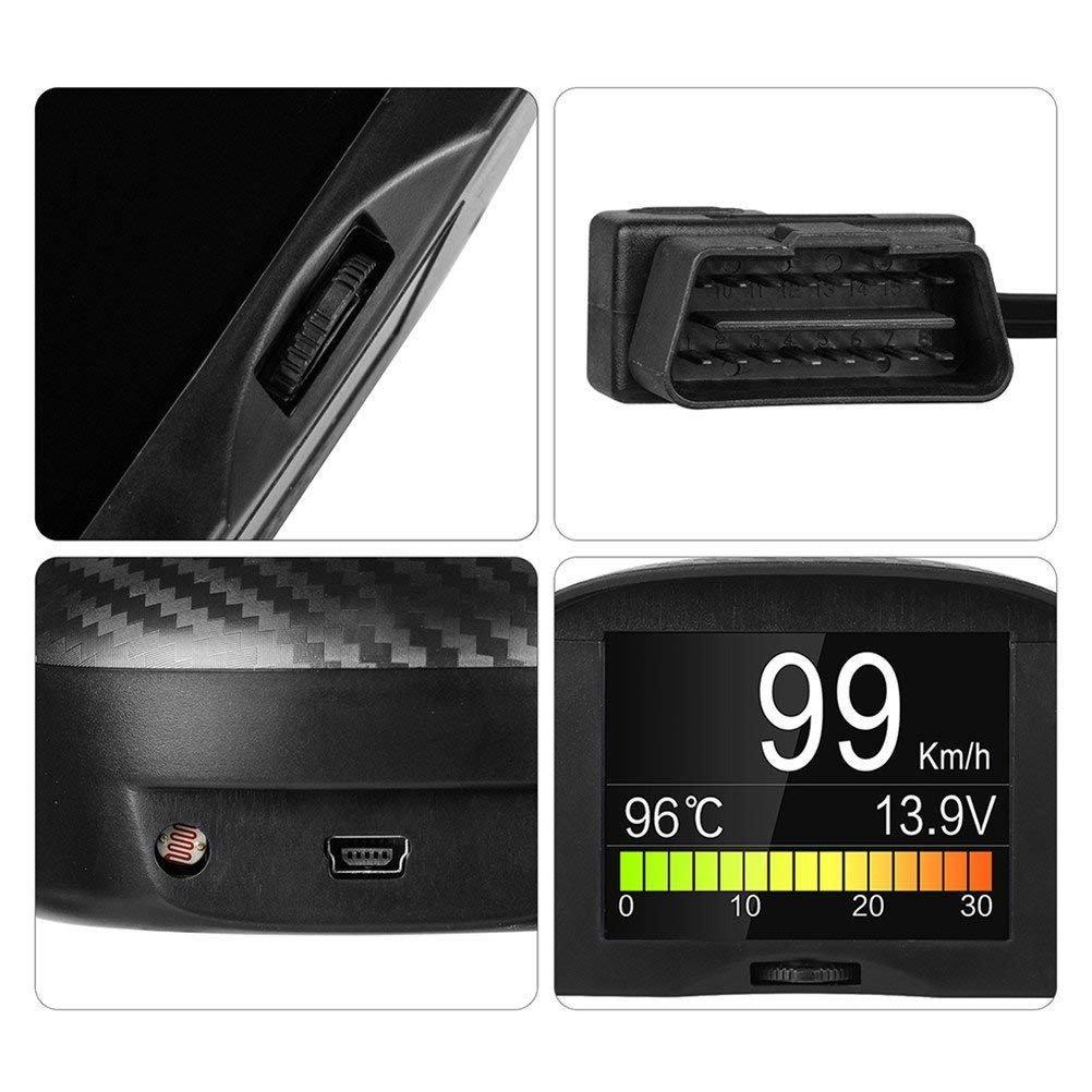 Autool coche OBDII Digital velocímetro kmh/MPH con exceso de velocidad de alarma Auto común culpa código escáner Temperatura del agua Medidor con LCD ...