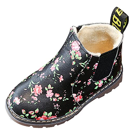 066f982c757a1 Kids Baby Boys Girls Anti-Slip Floral Martin Boots,Winter Thick Plush Snow  Bootie Party Sneaker Shoes 5.5-10