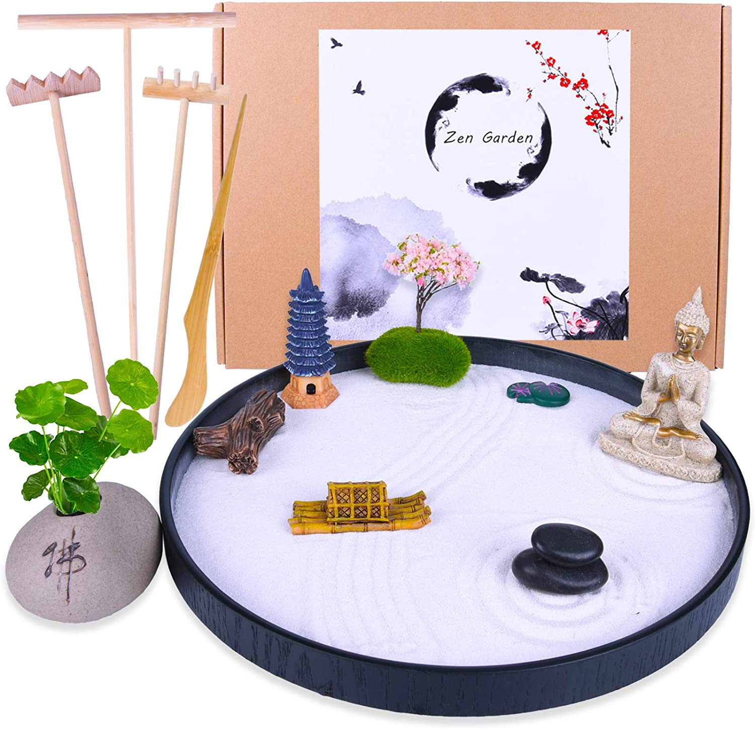 Japanese Zen Garden Kit - Premium Home & Office Desk Garden with Meditation Buddha Rock Mini Pagoda Boat Cherry Trees - Meditation Gift Set for Relaxation - 4 Rake Tools and Accessories(Round)