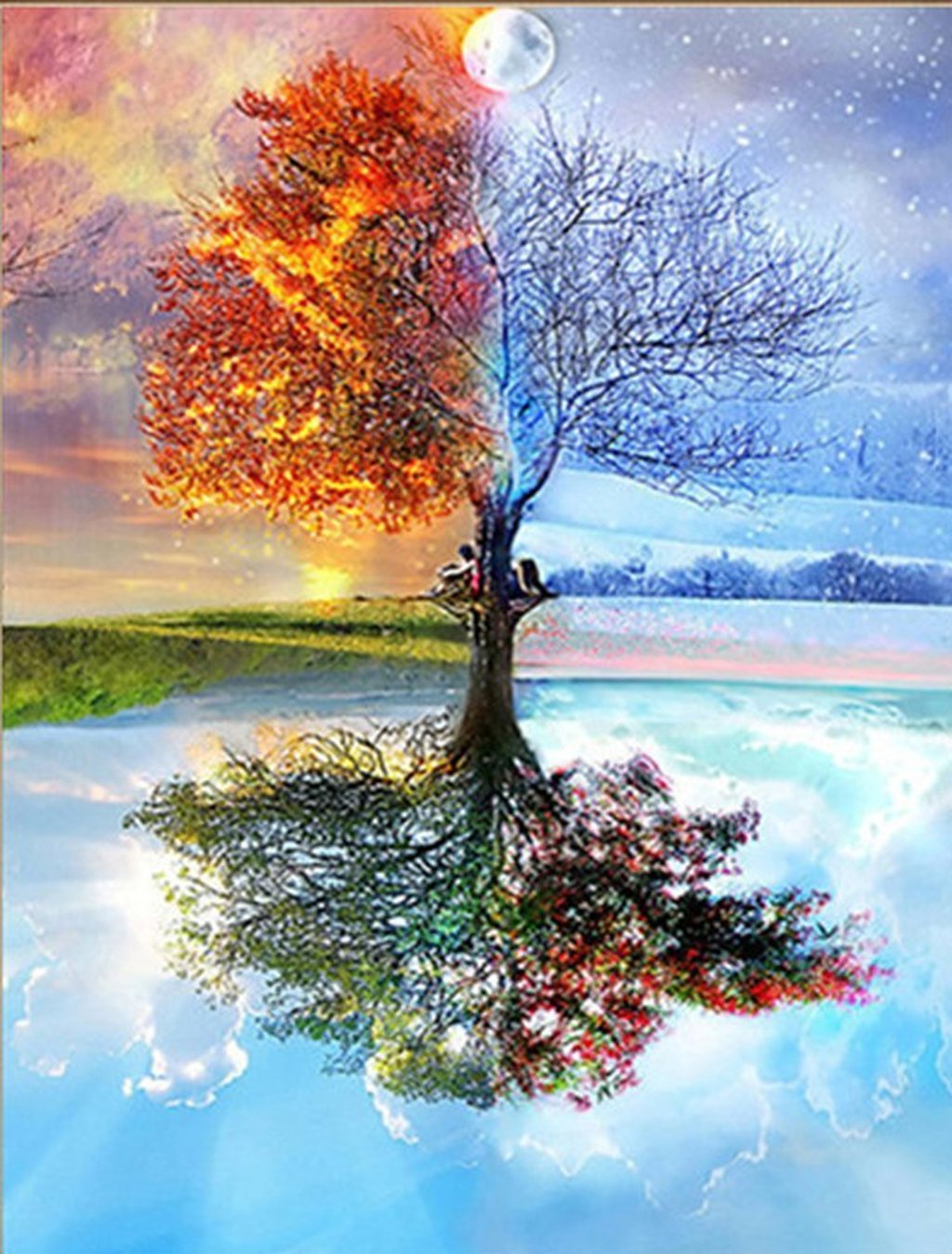 AIRDEA DIY 5D Diamond Painting Kit, Crystal Embroidery Cross Stitch Magic Tree Reflection Arts Craft for Canvas Wall Decor