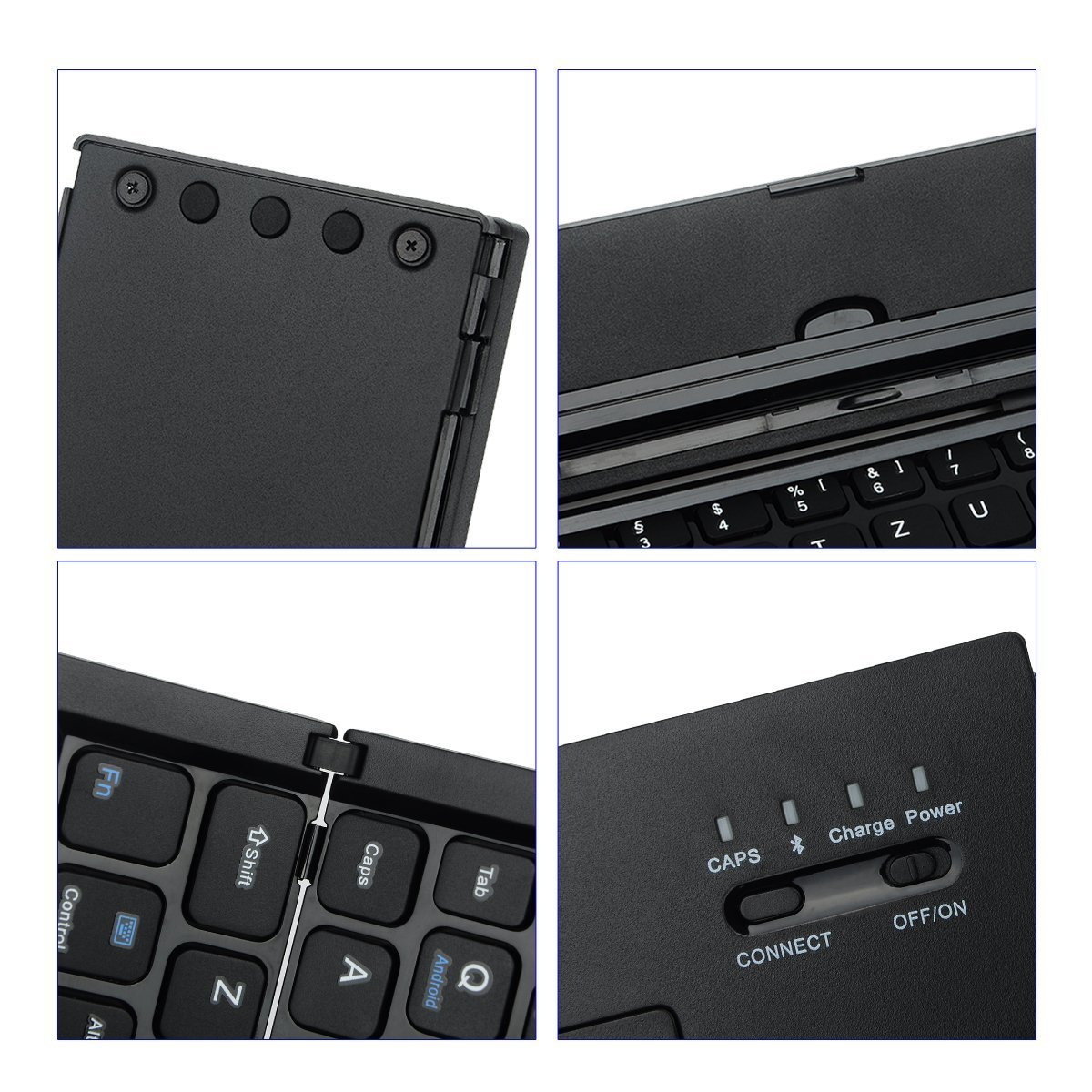 LEANINGTECH Portable Foldable Bluetooth Keyboard Aluminum Metal Collapsible Keypad with Kickstand Holder Phone Holder for iPhone, iPad, Samsung, Android, Windows Device-Black by LEANINGTECH (Image #4)