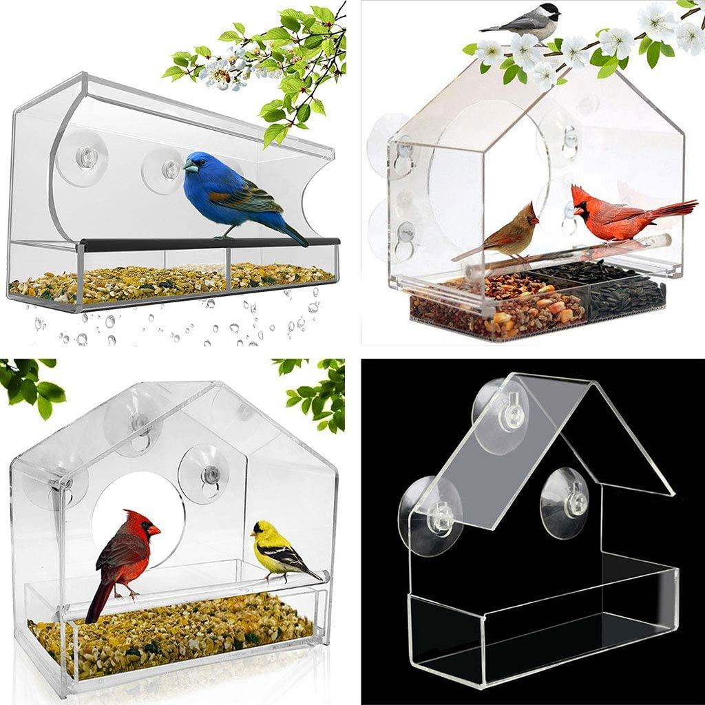 Taxiner Window Bird Feeder House by Nature Anywhere with Sliding Feed Tray