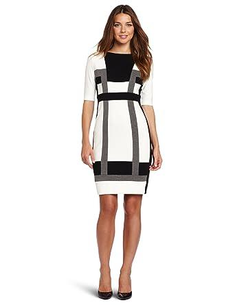 37d97a86874ec London Times Women's Color Blocked Ponte Sheath Dress, Black/Ivory/Heather  Grey,