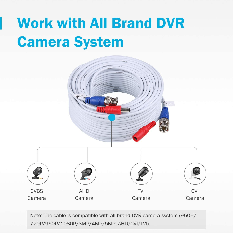 4X25ft Camara Cable BNC Video Wire Cord de seguridad para CCTV DVR WHITE