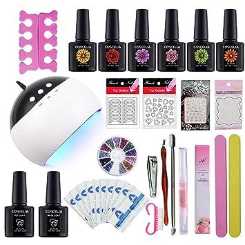 Choisir 6 Couleurs Coscelia 24w Lampe Uv Led Seche Ongle Kit Vernis Semi Permanent Gel Polish Decor Ongle Nail Art Set