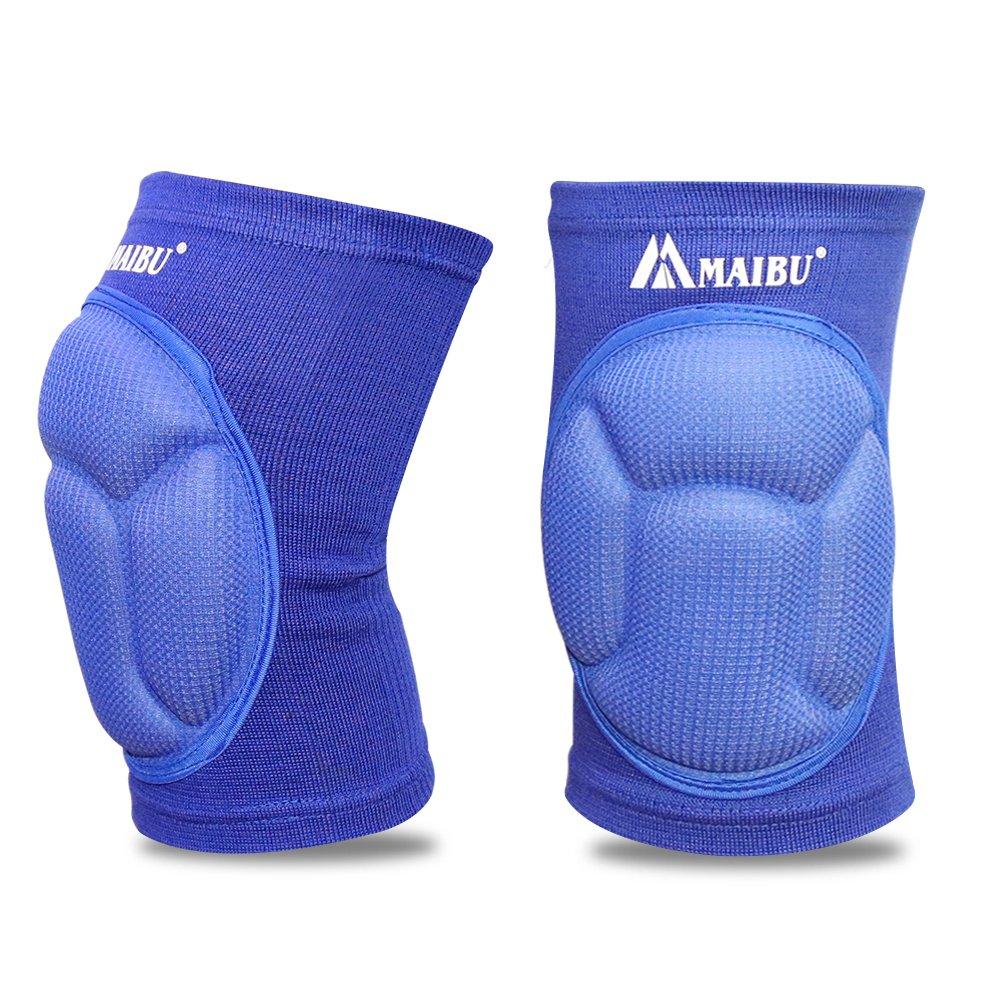 Maibu Protectiveバレーボール膝パッド厚いスポンジダストからKneepadsプロテクターノンスリップWrestlingダンス膝パッドサポートスリーブforアウトドアスポーツ( 1ペア) B01N321T39 ブルー