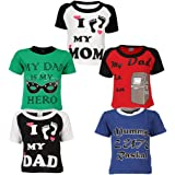 Goodway Boys Pack of 5 Mom and Dad Theme Printed T-shirts(JB5PCKM&D-2_MultiColor)