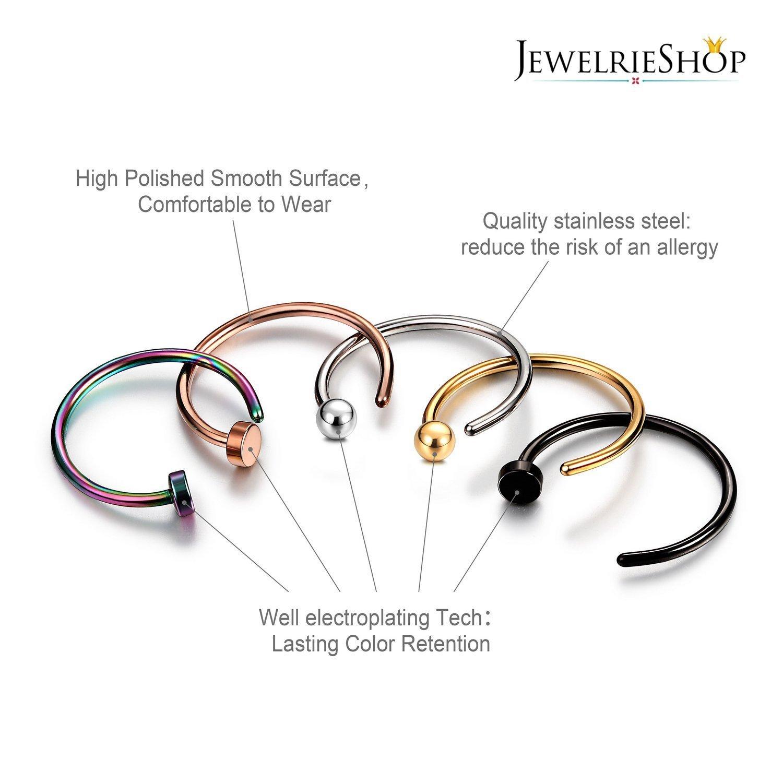 JewelrieShop Nose Rings Hoop 20G Stainless Steel Nose Piercing Jewelry Fake Lip Hoop Rings for Women Men