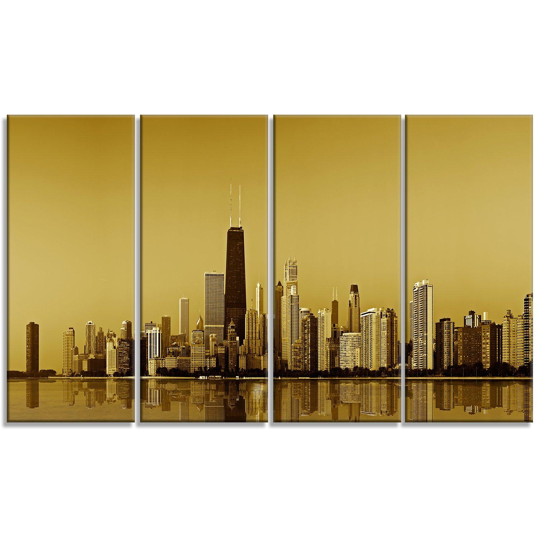 Amazon.com: Designart Chicago Gold Coast with Skyscrapers Cityscape ...
