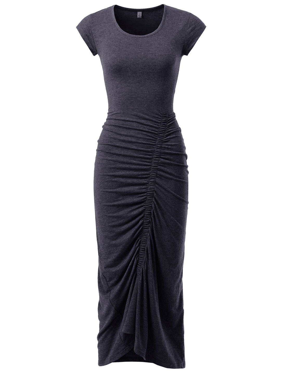 NEARKIN NKNKWBD801 Womens Cap Sleeve Figure Hugging Scoop Neck Shirred Maxi Dress Charcoal US M(Tag size L)