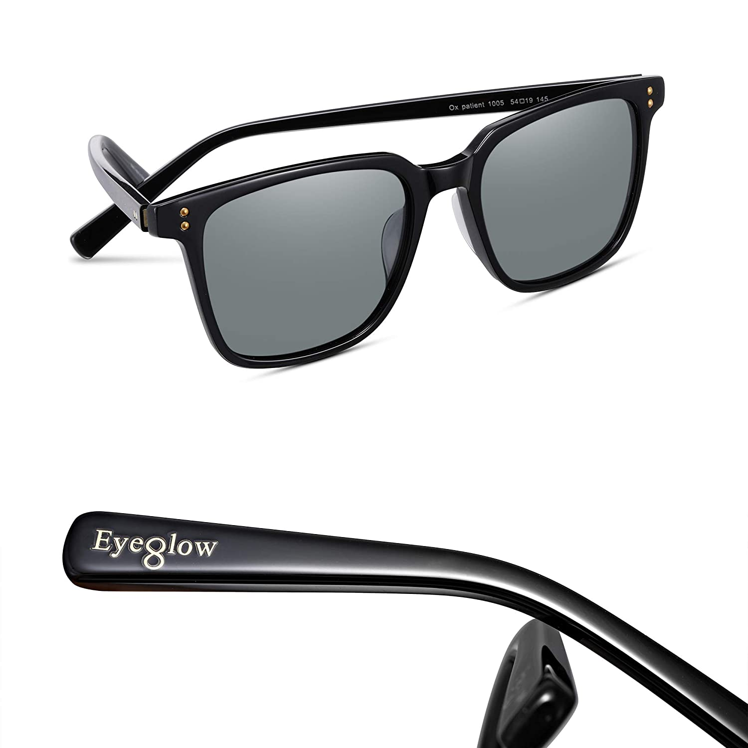 a69c02ad4c Amazon.com  EyeGlow Vintage Square Designer Sunglasses Men and Women  Polarized Lens S6801 (Black vs Grey lens