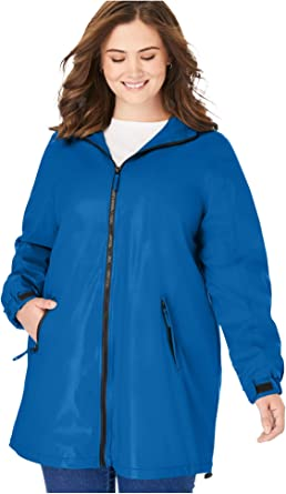 "4X 34-36 Women/'s Stylish Zip Front Long 30/"" Light Weight Waterproof Rain Coat"