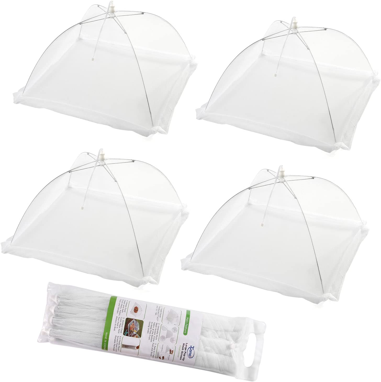 (Set of 4) Large Pop-Up Mesh Screen Food Cover Tents - Keep Out Flies, Bugs, Mosquitos - Reusable