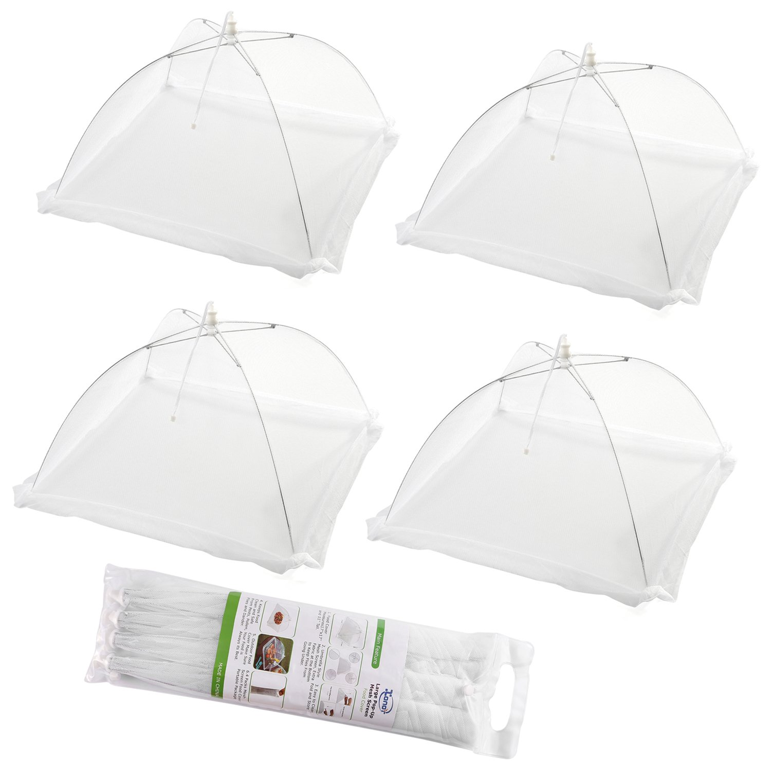 (Set of 4) Large Pop-Up Mesh Screen Food Cover Tents - Keep Out Flies, Bugs, Mosquitos - Reusable XONOR