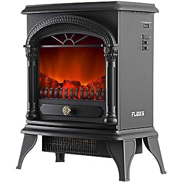 Flieks® - Chimenea eléctrica con ventilador calefactor y efecto de hoguera, 1900 W, calefacción eléctrica con efecto de fuego, Negro 1800.00W: Amazon.es: ...