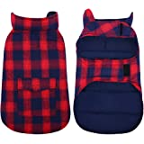Kuoser British Style Plaid Dog Winter Coat, Windproof Water Repellent Cozy Cold Weather Dog Coat Fleece Lining Dog…