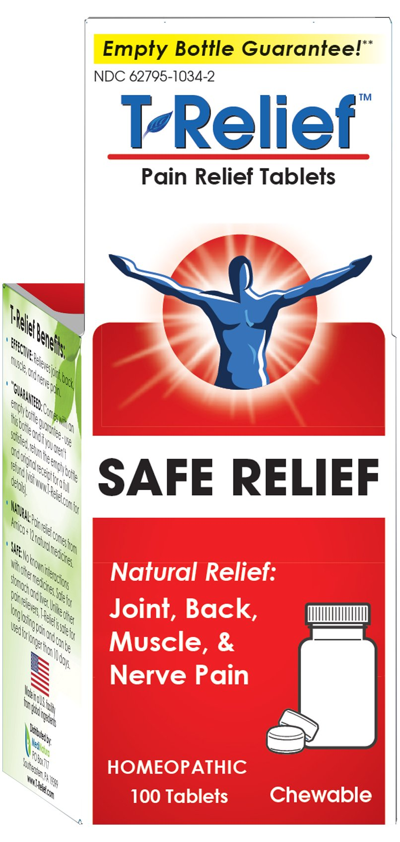 T-Relief Pain Relief Tablets for Joint, Back and Muscle Pain and Stiffness - Homeopathic Formula with Arnica - 100 Tablets
