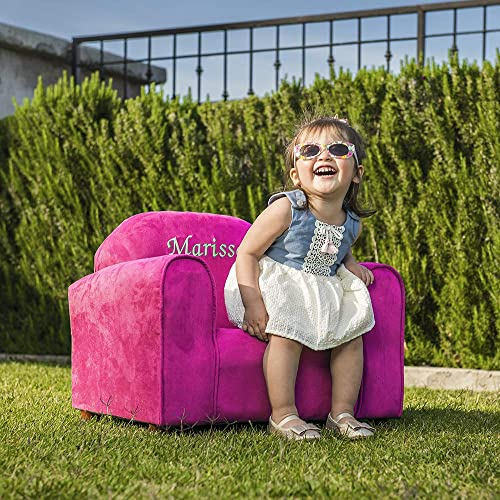 Upholstered Personalized Kids Chair Microfiber Suede Hot Pink