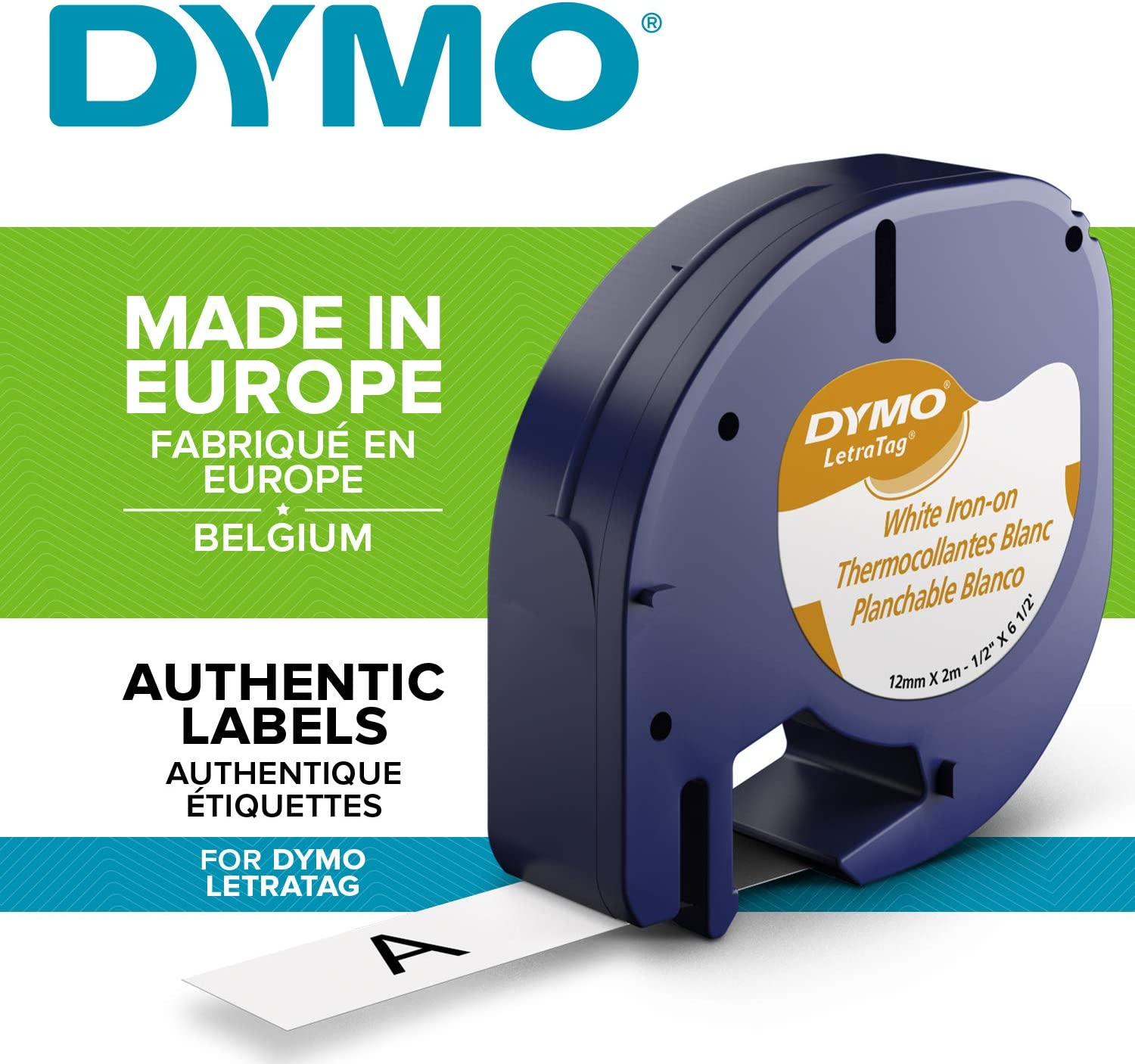 """Paper Compatible for Dymo LetraTAG Plastic Fabric Label Tapes 12mm 1//2/"""""""