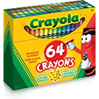 Crayola Crayon Box with Sharpener, 64 Colours, Gift, Colouring, Drawing, Christmas, Non Toxic