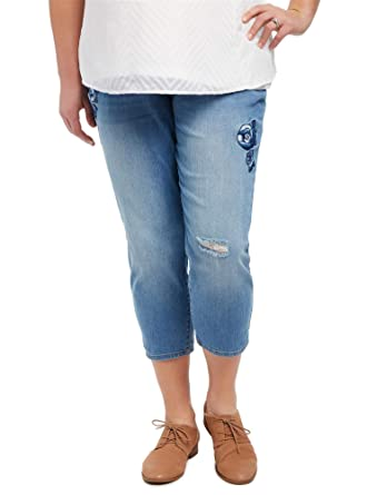 4928c6095aa9f Motherhood Plus Size Secret Fit Belly Floral Maternity Crop Jeans at Amazon  Women s Clothing store