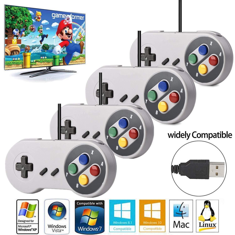 Amazon com: O RLY USB Controller for PC SNES Game Retro Gamepad (x2