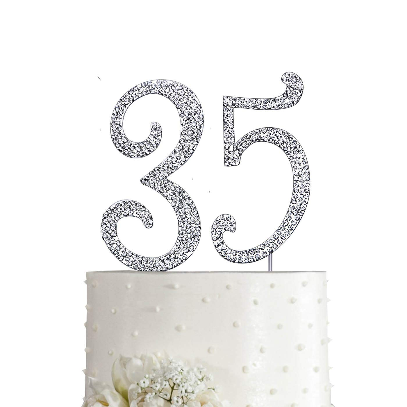 love cake decorating ideas.htm magjuche silver 35  crystal cake topper  number 35 rhinestones  magjuche silver 35  crystal cake topper