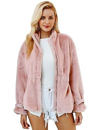 7934a64c1 Amazon.com: Simplee Women's Winter Faux Fur Coat Soft Warm Fur ...