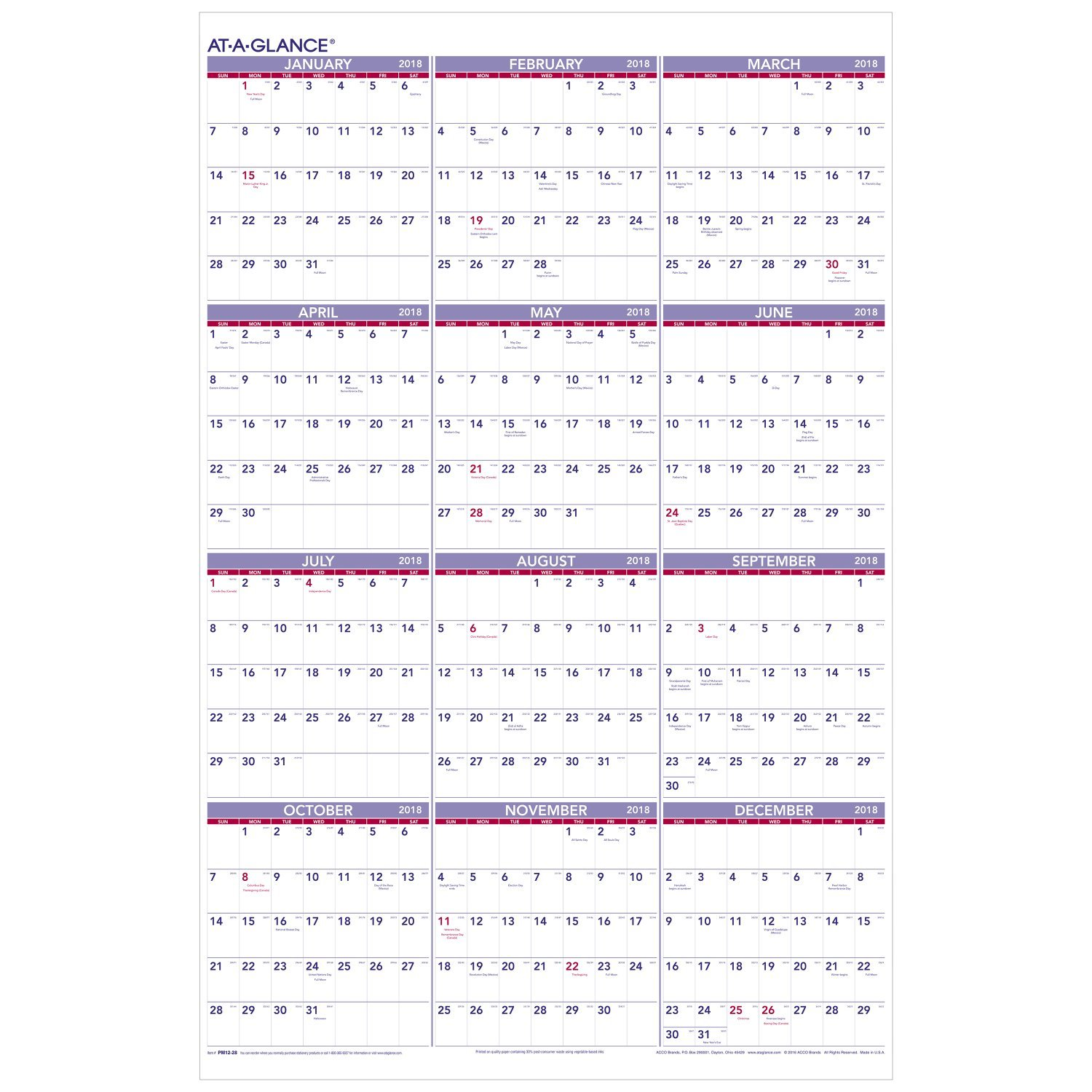 AT-A-GLANCE Yearly Wall Calendar, January 2018 - December 2018, 24'' x 36'' (PM1228)