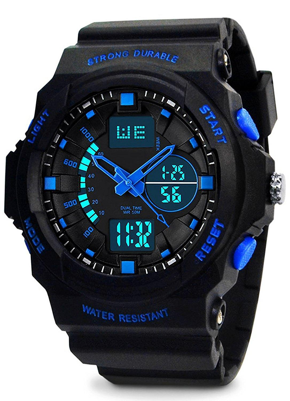 Kinder Jungen Analog Digital Uhren - 5 ATM Wasserdichte Sports Uhren mit Dual Time/Alarm/Chime stündliches, Elektronische im Freien Sport Armbanduhr für Teenagers Kinderuhren - Schwarz von VDSOW