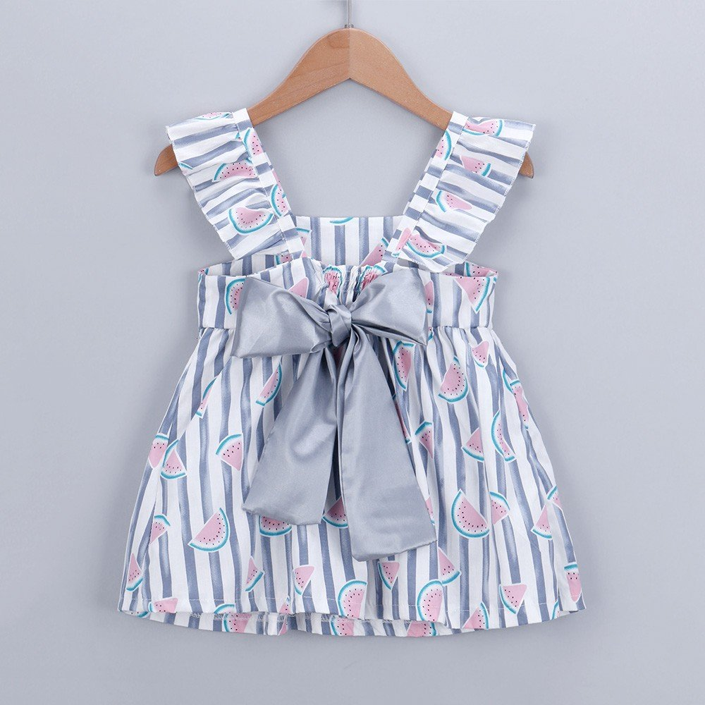 LISTHA Baby Girls Cute Sundress Newborn Fruit Striped Bowknot Princess Mini Dress