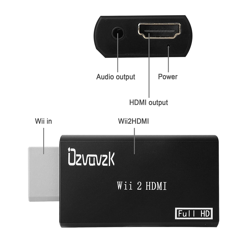 Ozvavzk Wii a HDMI Convertitore,Wii to HDMI Audio Video Adattatore Wii segnale a 720p e 1080p con Audio da Jack 3.5mm e HDMI Cavo.