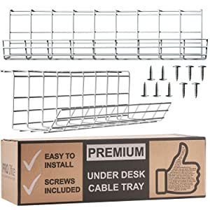 Under Desk Cable Management Tray - Cable Organizer for Wire Management. Metal Wire Cable Tray for Office and Home (White 2 Pack)