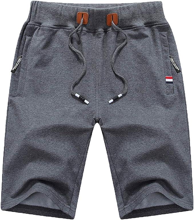 QPNGRP Mens Shorts Casual Drawstring Zipper Pockets Elastic Waist   Amazon
