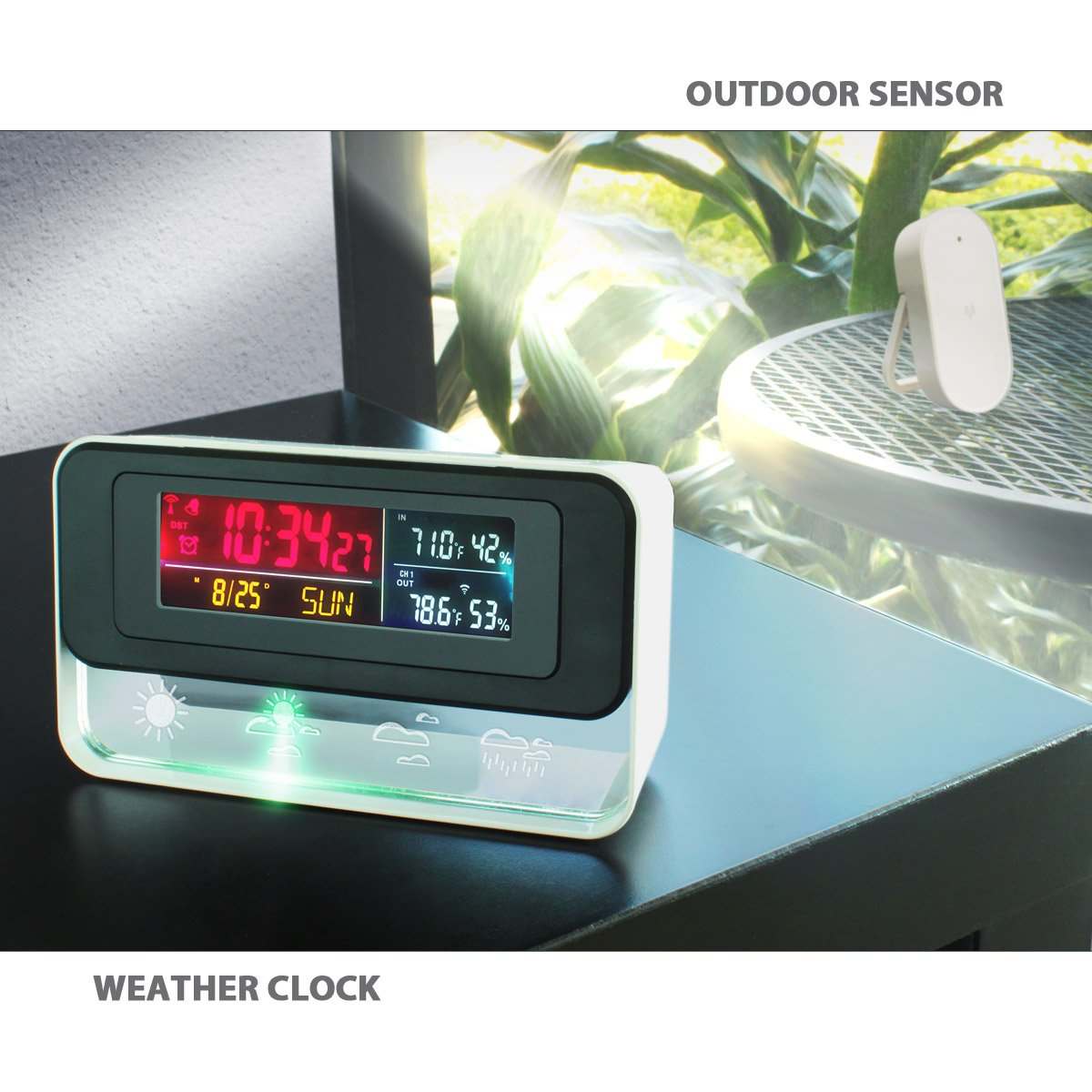 Dr Prepare Digital Multifunctional Projection Alarm Clock With Multifunction Thermometer And Hygrometer Indoor Outdoor