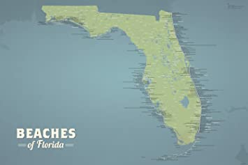 Maps Of Florida Beaches.Amazon Com Florida Beaches Map 24x36 Poster Natural Earth