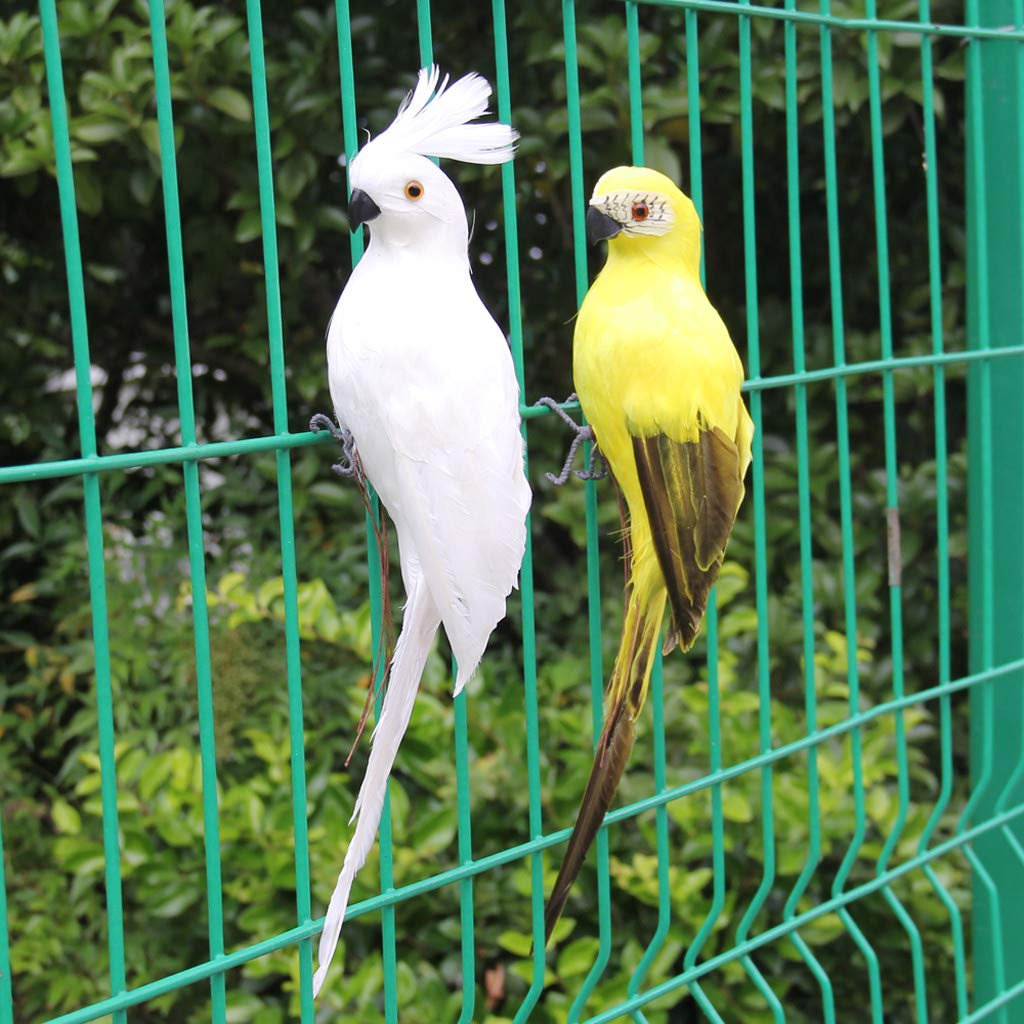 KingWo Colorful Simulated Parrots Artificial Birds Model Outdoor Home Garden Lawn Tree Decor A
