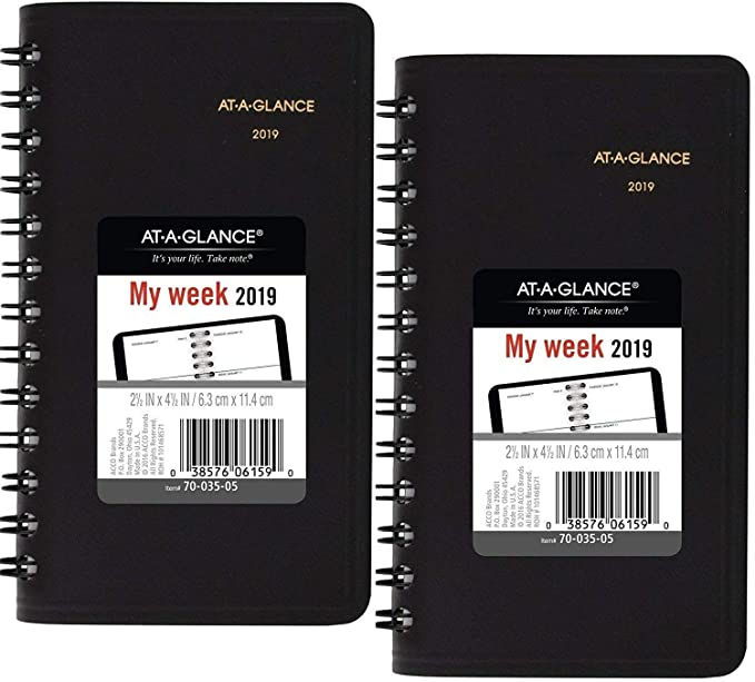 AT-A-GLANCE Weekly Pocket Planner, January 2019 - December 2019, 2-1/2