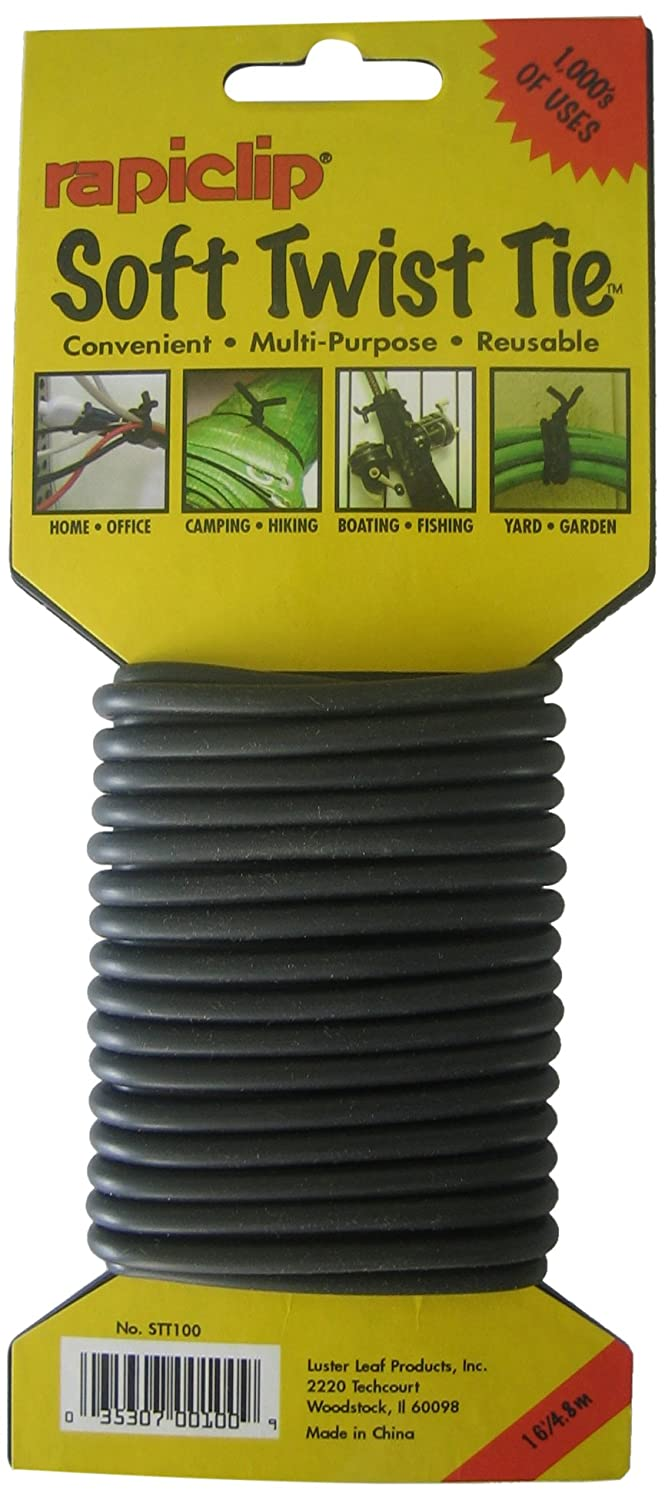 Luster Leaf STT100 Soft Twist Tie Black 16' Light Duty