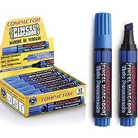 Pincel Marcador, Compactor 00882AZ, Azul, Pacote de 12