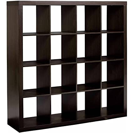 Modern Sixteen Square Cubbies Espresso Closet Storage Unit With Cubes Shelves Cabinet Shoe Organizer Space Saver