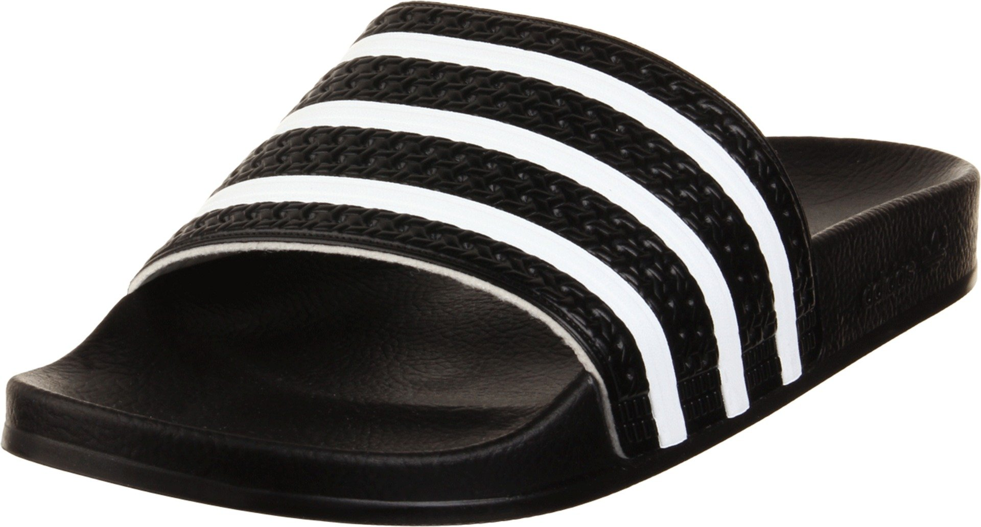adidas Originals Men's Adilette Slide Sandal, Black/White/Black, 6 M US