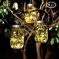 Lumières du Jardin Solaire,Pots Mason Avec Couvercles Insert Pour la Décoration de L'éclairage Intérieur Extérieur. (4 Paquets, Blanc Chaud)