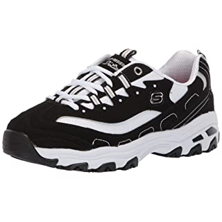 Skechers Women's D'Lites Health Care Professional Shoe, Black/White, 6 M US