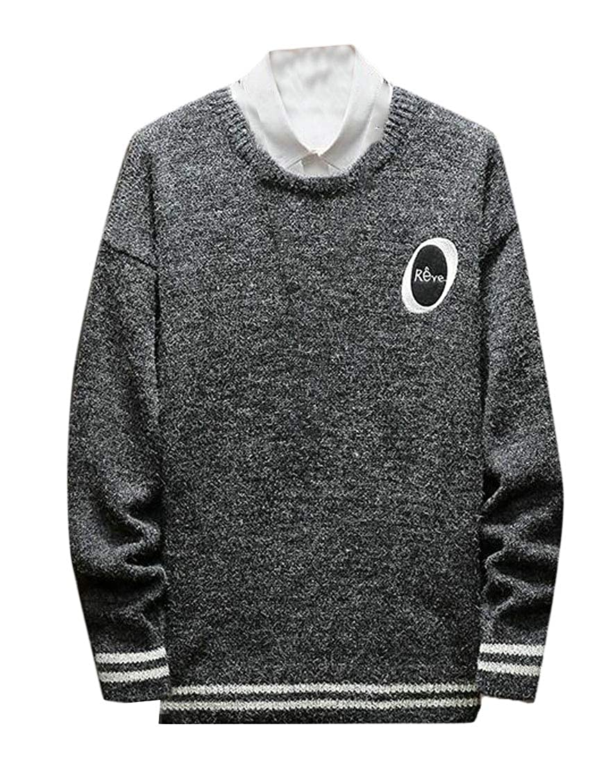 Suncolor8 Mens Long Sleeve Loose Autumn Winter Crew Neck Knitted Pullover Sweater