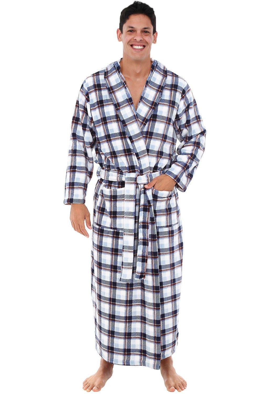 Alexander Del Rossa Mens Fleece Robe, Long Hooded Bathrobe, 1XL 2XL White Grey and Brown Plaid (A0125R742X)