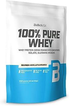 BioTechUSA 100% Pure Whey Complejo de proteína de suero, con aminoácidos añadidos y edulcorantes, sin conservantes, 1 kg, Vainilla Bourbon