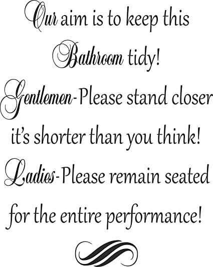 FUNNY BATHROOM RULES TOILET SEAT WALL ART Vinyl Stickers Decal