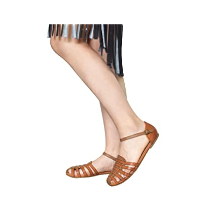 09d6a70b4c1f ... MaxMuxun Womens Roman Ankle Strap Cage Closed Toe Camel Flat Sandals  Size 5 ...